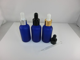 Wholesale Cobalt Blue Bottle Wholesale - Wholesale 100pcs Lot 30ml -1 Oz Cobalt Blue frosted glass bottles Vails with dropper Cap For Essential oils,Cosmetics,Perfumes-New