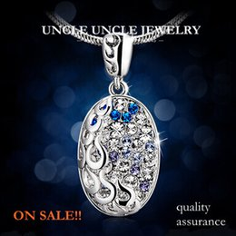 Wholesale Ellipse Necklace - On Sale!!! Quality Assurance Platinum Plated Austrian Crystal Micro Setting Wishing Hollow-out Ellipse Lady Pendant Necklace Wholesale
