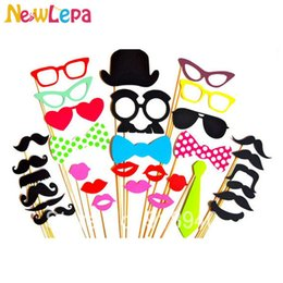 Wholesale Lips Mustache Decorations - Wholesale- 32pcs Photo Booth Props Glasses Mustache Lip On A Stick Wedding Props And Decorations Birthday Party Fun Favor Free Shipping