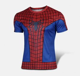 Wholesale Superman T - w1223 Batman Spiderman Venom Ironman Superman Captain America Winter soldier Marvel T shirt Avengers Costume DC Comics Superhero mens