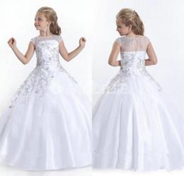 Argentina 2015 barato Crystal mangas cortas Flowergirl vestidos de niña de las flores blancas Niñas Vestidos del desfile Tamaño pequeños vestidos del desfile para niñas Suministro
