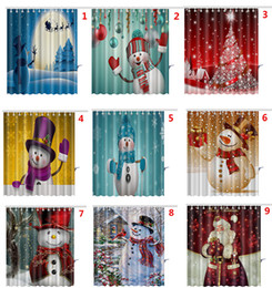 Wholesale Wholesale Shower Curtain - Christmas Snowman Shower Curtains Santa Claus Christmas Tree Snowman Designs Waterproof Bathroom Shower Curtains With 12 hooks By DHL