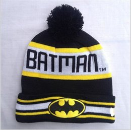 Wholesale Cheap Christmas Hats Wholesale - Cheap Wholesales Sports winter hats batman Out Door Warm Winter Hats Unisex pompom beanie hats free shipping