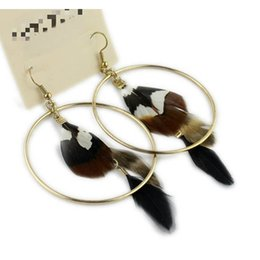 Wholesale Wholesale Feather Earrings China - Brown circle feather earring ,Fashion Hot Selling New Style Assorted styles Natural Feather Earrings mini 10pair lot
