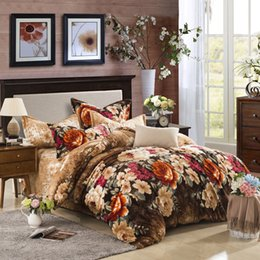 Wholesale Flannel Sheets Full - Wholesale- Colorful flowers print Carol Flannel Fleece winter 4pcs bedding set(1duvet cover 1 flat sheet 2 pillowcase) queen king size