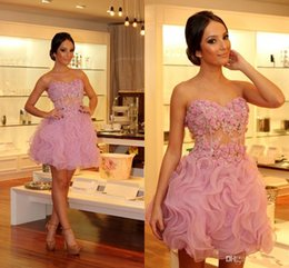 Wholesale Pretty Short Formal Dresses - 2017 Pretty Handmade Flowers Short Prom Dresses Sweetheart Applique Ruffles Organza Mini Party Gowns A Line Prom Dress Sleeveless Formal
