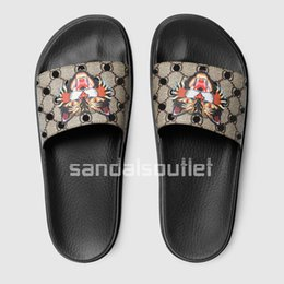 Wholesale Moulding Adhesive - With box hot brand 2017 mens fashion brand causal Trek slide sandals flip flops with printed tiger and Moulded rubber footbed