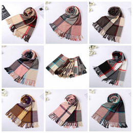Wholesale Fashion Scotland - Women Winter Scarf 200*55cm Plaid Tassel Shawls Warm Colorful Cashmere Scarves Scotland Wraps 8 Styles 10pcs LJJO3634