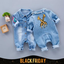 Wholesale Baby Clothe Winter - Little Baby Toddler Clothes romper jeans Jumpsuit Overalls Rompers with cute Rainbow Giraffe pattern Unisex