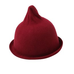 Wholesale Hot Mini Top Hat - Wholesale-Womens Mini Hip-Hot Cap Hats Felt Top Hat Wool Bucket Hat Topper Free Shipping