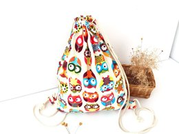 Wholesale Owl Cell Phone Bag - 2016 3D Fashion Printed Animal Owl Pattern Cute Girl'S Backpacks Women's Lady Travel Hiking Shopping Drawstring Bag