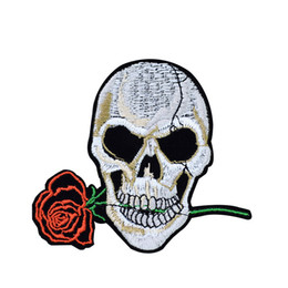 Wholesale iron patches skulls - 1PCS Skull Bite Rose Embroidery Patches for Clothing Bags Iron on Transfer Applique Patch for Garment Jackets DIY Sew on Embroidery Badge