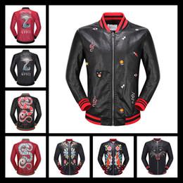Wholesale Coat Paint Black - 2017 Mens Tiger Head Leather Jackets Sportswear Fashion Windbreaker Marks Zipper Hoodies Coats Outwear Luxury Leather jacket Black