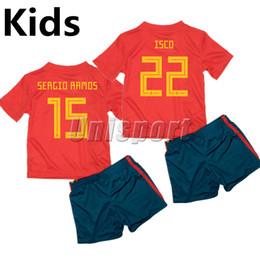 Wholesale Baby Kit S - World Cup 2018 Spain Home Kids Soccer Kits Futbol Camisa National Baby Jerseys Camisetas Shirt Maillot