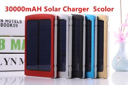 Wholesale Dual Usb Cell Phone Charger - Wholesale - High Capacity solar Dual USB 30000mAh Solar Charger Portable External Backup Battery for Cell Phone Tablet MP3 1.5W Solar Panel