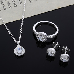 Wholesale Sterling Silver Necklace Earrings Set - 2015 new design 925 Sterling Silver CZ Diamond Necklace & Ring & Earrings Set Fashion Jewelry wedding gift for woman free shipping