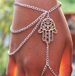 Wholesale Bracelet Slave - Asymmetric Best Lucky Gift Protection Hamsa Fatima Hand Finger Ring Slave Chain Harness Bracelet Wholesale 12 Pcs