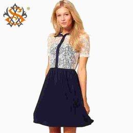 Wholesale White Lace Summer Dresses - White Lace Patchwork Women Dress 2015 Summer New Fashion Cotton Short Sleeve Casual Dress vestidos femininos
