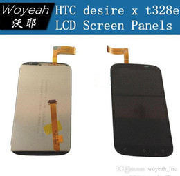 Wholesale T328e Desire X - For HTC desire x t328e LCD Screen and Touch Screen and light Digitizer Assembly with Silver Golden frame Free Shipping