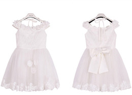 Wholesale Xs White Halter Dress - Girls Dress Lovely Summer New High Grade Mesh Lace Sweet Hot Princess Skirt Cute Short Sleeves Children Formal Dress bow Kids Wedding Dress