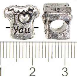 Wholesale Metal Spikes Clothing Wholesale - Vintage Silver Loose Beads Pandora Charms Bracelets DIY Large Hole Clothes T Shirt I Love You Metal Wholesales Jewelry Findings 10mm 100pcs