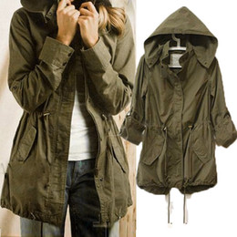 Wholesale Military Green Jacket Woman - 2015 New Spring Women Ladies Drawstring Army Green Military Jacket Coats Outerwear 3 Sizes