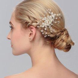 Wholesale Diy Pearl Tiara - Handmade Bridal Crystal Rhinestone Hair Piece Women White Simulated-pearl DIY Pricess wedding tiaras Crown Accessories HS-J2590A