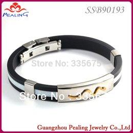 Wholesale Titanium Ionic Sports Bracelet Wholesale - Wholesale-Free Shipping 5pcs New Power Titanium Ionic silicone Bracelet Band Sports bangles for man Jewelry bracelets Gift Wholesale