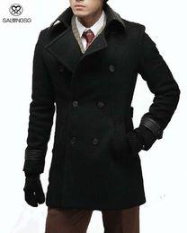 Wholesale Warm Leather Mens Coats - Fall-Casual Mens Wool Winter Jacket Long Woolen Men's Overcoat Leather Collar Warm Wool Outwear For Men XXL Black Coat Luxury
