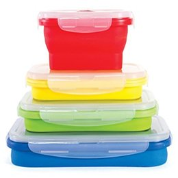 Wholesale Folding Collapsible Storage Box - 4pcs Set Silicone Eco Collapsible Lunch Box Portable Folding Food Storage Containers 350ml 540ml 800ml 1200ml