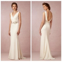 Wholesale Exclusive Bridal Dresses - Vintage Sheath Wedding Dress Satin V Neck Bridal Dress 2014 Backless Column Custom Made Wedding Gown Styles Lace Size 16 Bhldn Exclusive