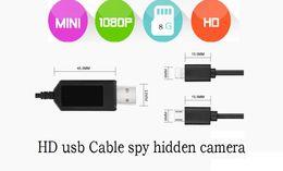 Wholesale Hd Vedio Camera - USB Cable SPY Hidden camera 8GB 16GB 32GB FULL HD 1080P Charging Cable hidden pinhole camera usb cable vedio camera support Loop Recording