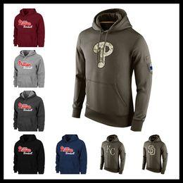 Wholesale Kc Mens - Men Phillie sweatshirts Padre warm winter Pullover royal hoodies brown red wine black Mens watching game KC letter hoodie Size M-XXXL