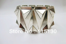 Wholesale Triangle Bracelet Stud - Wholesale-New Arrivals Gothic Silver Plated Pyramid Studs Stretch Bracelets Bangles Rock Punk Wide Cuff Metal Spike Triangle Cone Bracelet