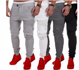 Wholesale Mens Cuffed - Mens Pants Designer Harem Joggers Sweat pants Elastic Cuff Drop Crotch Biker Joggers Pants For Men Black Gray Dark Grey White