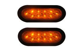 "Wholesale Rv Boat - 2pcs 6""10LED Amber Oval Sealed Turn Brake Stop Tail Light Truck Trailer RV boat Kit"