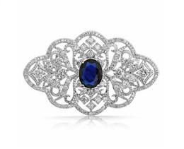Wholesale Vintage Wedding Brooches - 2.2 Inch Vintage Look Clear Rhinestone Crystal Diamante Wedding Jewelry Brooch With Dark Blue Stone