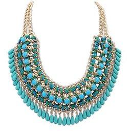 Wholesale Big Bubble Necklace Choker - Wholesale-2015 5 color hot Arrival big gem necklacesTrendy fashion bubble bib choker chunky statement necklace women jewelry xl-192