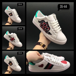 Wholesale Luxury Leather Sport Shoes Men - New L Top Quality Men Luxury Brand Dragon G G Sneakers Genuine Leather Lace Up Sports Running Shoes Comfortable Breathable Casual Shoes