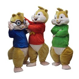 Wholesale Mascot Halloween - Alvin and the Chipmunks Mascot Costume Chipmunks Cospaly Cartoon Character adult Halloween party costume Carnival Costume
