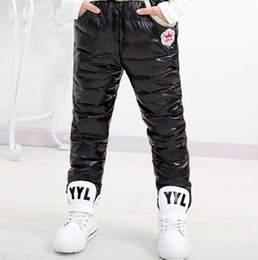Wholesale Girls Warm Trousers - 2015 Autumn Winter Cold Windproof Children Warm Girl Boy PU White Duck Down Pant Cotton Down Trousers Fashion Thicken Down Pants