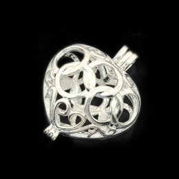 Wholesale Brass Heart Charm - Wholesale 15*19mm Silver Filigree Heart Brass Charm Cage Pendant Lockets Pearl Cage Sea Glass For DIY Lockets Pendant