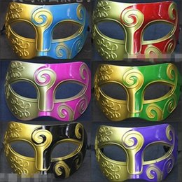Wholesale Golden Face Mask - Wholesale New Cheap Masquerade Mask Golden Half-Face Mask Baron Mask Men Painting Prince Mask Dance Halloween Christmas Party Mask