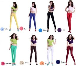 Wholesale Army Style Pants Women - Fashion Women Candy Colors 8Styles Classical Pencil Pants Spring Summer Autumn Style Sexy Fit Jeans Woman Casual Pants