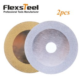 "Wholesale Diamond Grinding Cutting Discs - Flexsteel 2pcs Gold and Sliver Color Diamond 4"" 10cm Round Disc Cutting and Grinding Saw Blade Wheel for Dremel Rotary Tools"