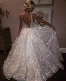 Wholesale Pageant Long Gown - Sparkle Sequined White Long Evening Dresses 2018 Deep V Neck Sexy Low Back Long Prom Gowns Cheap Pageant Special Occasion Gowns BA7466