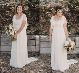 Wholesale Dress Chiffon Bohemian - 2015 Ivory Bohemian Wedding Dresses Plus Size Maternity Lace Short Sleeves Cheap Scoop Open Back Country Spring Wedding Bridal Wedding Gowns