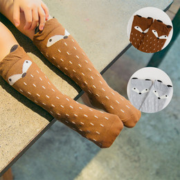 Wholesale Child Girl Knee High Socks - 2016 new baby fox socks autumn winter Korea knee high cartoon sock children middle socks footwear star baby leg warmers girls legging socks