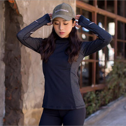 Wholesale Long Body T Shirt Women - The new high-necked body tight yoga clothing sports casual stretch quick-drying t-shirt female yoga fitness long-sleeved shirt