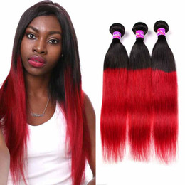 Wholesale Cheap Two Tone Brazilian Hair - Brazilian Ombre Straight Virgin Human Hair Extensions Cheap 2 Two Tone 1B Red Remy Hair Weave Weft 3 Bundles Human Hair Products